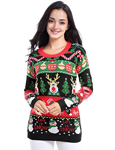 v28 Varied Ugly Christmas Sweater for Women Merry Reindeer Shirt Knit Sweaters (Large, Deer Snowman Black)