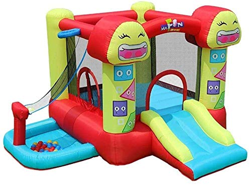 ROM Smiley Trampoline Children s Slide Inflatable Castle and Slide, Outdoor Playground Home Trampoline Kindergarten Naughty Castle Children s Best Gifts