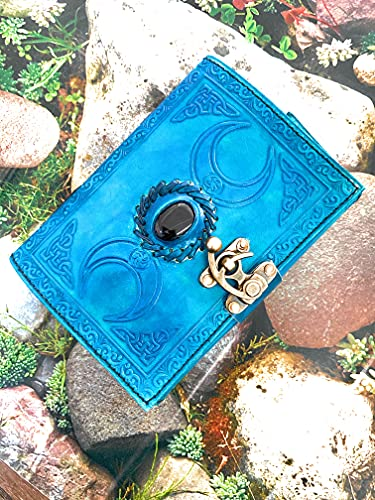 Vintage journals grimoire Celtic Witch Stone Leather Book of Shadows Journal Blank Spell Notebook Royal Blue The Triple Moon Uncharted Merchandise Deckle Edge Paper Wiccan Sketchbook (Royal Blue)