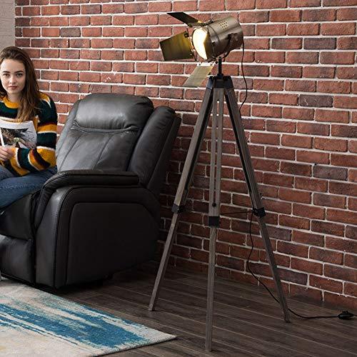 Staande lamp van massief hout, statief, staande lamp van roestvrij staal, fotografie, landschap, retro, woonkamer, slaapkamer, studio, staande lamp Brons