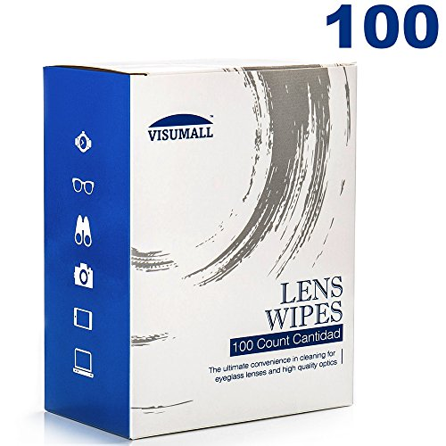 Lens Cleaning Wipes 100 Individually Wrapped Wipes Pre Moistened Cleansing Cloths for Eyeglasses, Tablets, Camera Lenses, Screens, Keyboards