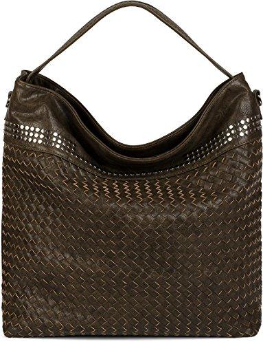 styleBREAKER borsa hobo borsa a mano con trama intrecciata e borchie, borsa da shopping, borsa a spalla, borsa, da donna 02012219, colore:Oliva