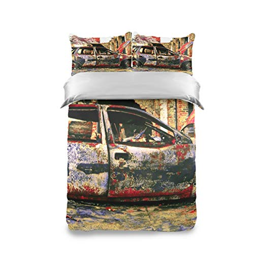 FANTAZIO Extra Soft Twin Sheets Set Car Art Junkyard Breathable and Cooling Sheets Twin Size 3 Pieces Sheet Set including 2 Pillowcases