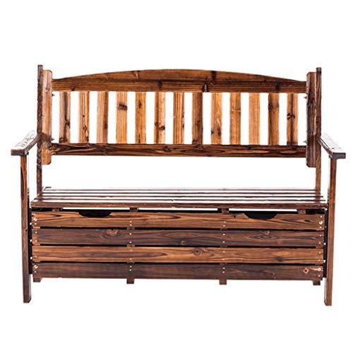YCDJCS Placards et coffres de Rangement Jardin Armoires Rural extérieur Multifonctionnel Chaise de Stockage en Bois Massif anticorrosif Park Bench (Color : Brown, Size : 125 * 59 * 89 cm)