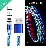 Ruibo Sike Câble USB magnétique 3 en 1, 2,4 A High Speed USB vers Micro USB Câble de Chargement – LED Fluide Bleu
