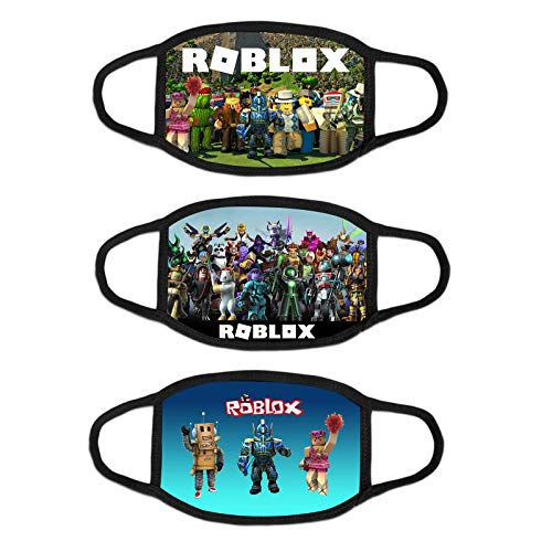 3pcs Rob-lox Games Cloth Face Mask Breathing Protection Outdoor Bandana Balaclava for School Kids Childs Boys