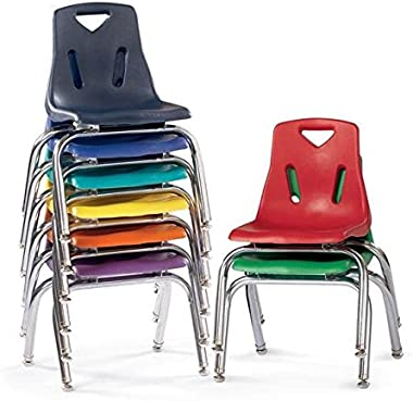 Jonti-Craft Berries 21.5 in. Plastic Kids Chair w Chrome-Plated Legs (19 in. W x 20.5 in. D x 29.5 in. H(12 lbs.) Red)