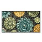 Silk & Sultans Agathe Collection Contemporary Medallion Design, Pet Friendly, Non-Slip Doormat with Rubber Backing,1'x2'Grey