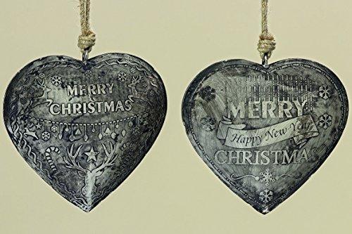Boltze - Ciondolo a forma di cuore, 25 cm, in ferro, colore: Argento