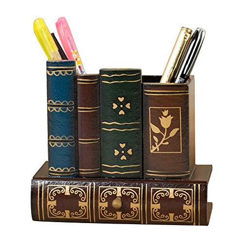Contenitore di penna a forma di libro di resina Completo di cassetto di matita del cassetto invisibile Figurine artigianali Studente Regalo di cancelleria Ufficio Scrivania a casa Arredamento