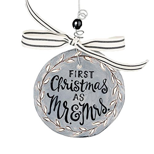 Glory Haus 1 x First Christmas Mrs Flat Ornament, Multi-Colour, 4.5 x 4.5-Inch