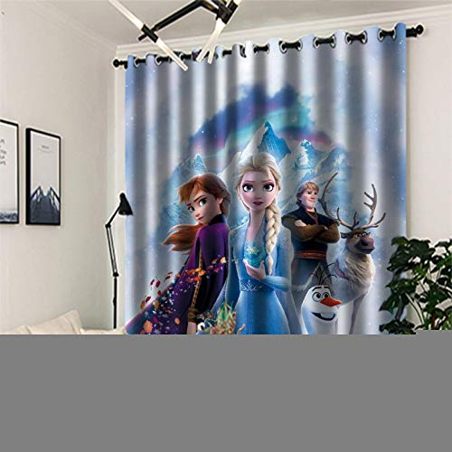 Blackout Curtains 3D Digital Printing, 2 Panels Curtain with Eyelet, Polyester, Frozen Decoration for Bedroom Living Room(2x W66x L54in / 2x 167x137cm)