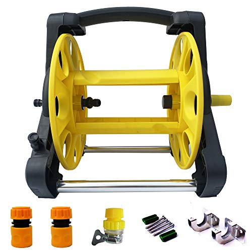 Mobile Garden Hose Reel Rack Hose Storage Rack Cart Stand for 65 Feet 1/2 Inch Hose Apply To Household Gardening and Cleaning. Equipped 3 pcs quick hose connector,1pcs tap connector,2pcswall hook.