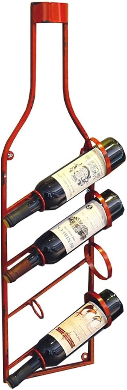 bienvenido a elegir Muebles de Bar Bar Bar Sostiene 4 Botellas de Vino montadas en la Parojo estantes para Vino, Colgante Titular de la Botella de Vino, estantes de Almacenamiento de Metal Hierro Vino Equipo Estilo Vintage, Rojo  ahorra hasta un 70%