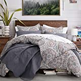 Classical Paisley Duvet Cover 3pc Set Bohemian Bedding Boteh Damask Medallion 400TC Egyptian Cotton Sateen Luxury European Traditional Style Bed Linen (Copper, King)