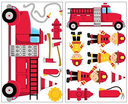 Samunshi® 17-teiliges Feuerwehr Wandtattoo Set Feuerwehrauto Wandsticker in 5 Größen (2x16x26cm Mehrfarbig)