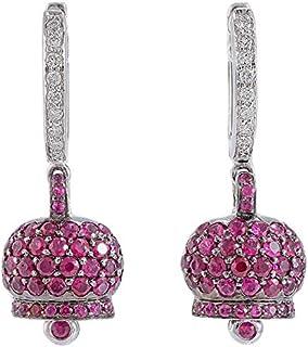 Orecchini campanella, Oro Bianco 18kt, Diamanti e Rubini