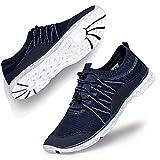 Lavibelle Homme Chaussures Aquatiques Chaussures d'eau de Plage Water Shoes pour Piscine Surfer Yoga Bleu et Blanc EU 43