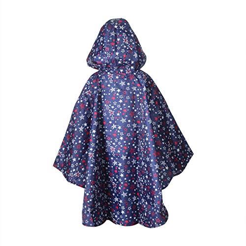 Whollyup Kids Rain Poncho Jacket Waterproof Outwear Hooded Raincoat Girls Boys