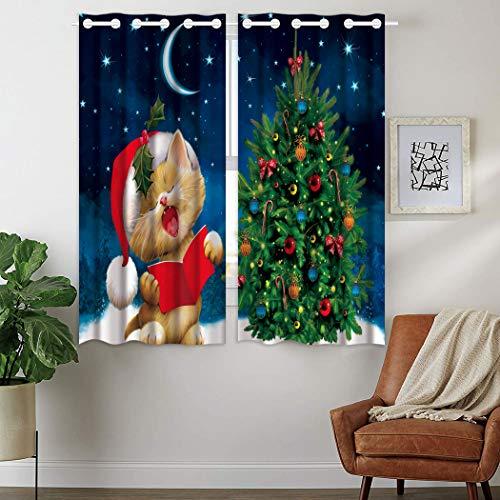 Violetpos 160 x 110 cm Nettes Singendes Kätzchen Weihnachtsbaum Sterne Mond Gardinen Blickdichter 2er Set Vorhang Verdunkelung mit Ösen für Schlafzimmer Wohnzimmer
