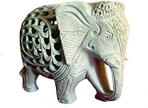 "5"" Indian Handmade Marble Soapstone Elephant - Baby inside Mother's Tummy"