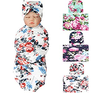 crib bedding and baby bedding 3 pack bqubo newborn floral receiving blankets newborn baby swaddling with headbands or hats sleepsack toddler warm