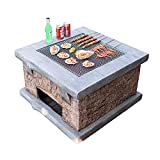 """Wood Fire Pits Outdoor Imitation Stone Outdoor Wood Fire Pit, Backyard Patio Garden Fireplace BBQ Grill Square Table, 75cm/29.5"""" (Color : Kit-1)"""