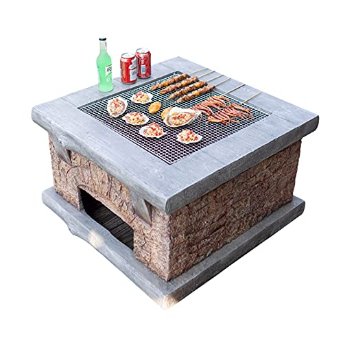 Wood Fire Pits Outdoor Imitation Stone Outdoor Wood Fire Pit, Backyard Patio Garden Fireplace BBQ Grill Square Table, 75cm/29.5' (Color : Kit-2)