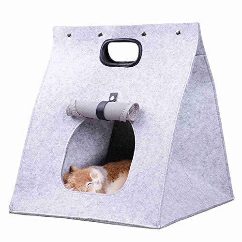 SJHFG Casa de gato plegable de fieltro, portátil, 40 x 40 x 48 cm, transpirable, cálida, para gato, cama de dormir para parque al aire libre, color gris