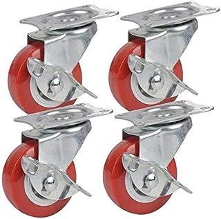TCWDX Heavy Duty Casters, Meubels Swivel Caster Office Chair Castor, 37,5/50 mm (1,5/2 Inch) Remwielen Wielen, Winkelwagen...