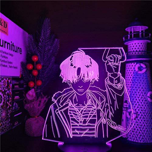 Killing Stalking Yoon Bum Luces nocturnas 3D Anime LAMP 7 Color Cambiante Lampara para decoración de dormitorio, base negra remoto