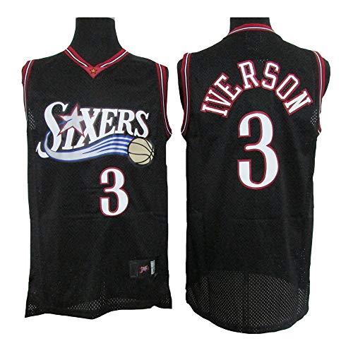 LSJ-ZZ Allen Iverson Basketball Jersey NBA 76ers 3# Classic Retro Bordado Jersey, Unisex Baloncesto Ventilador sin Mangas Deportivo Vestir Chaleco Transpirable,Negro,M