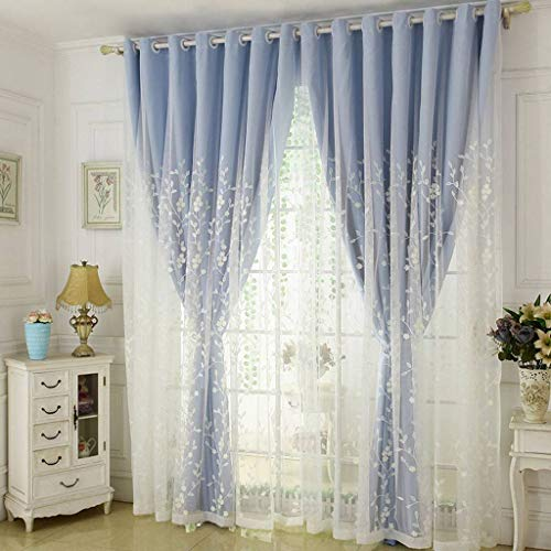 Double-Layer Curtain, Voile Window Cozy Blackout Thermal Insulation Room Drapes Embroidered with Grommet Drapery Great for Nursery Bedroom Balcony-117x182cm(46x72inch)-Blue 1 Panel