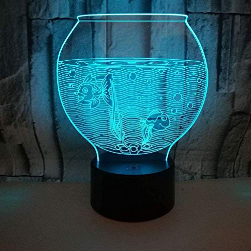 Tanque de peces colorido 3D pequeña lámpara de mesa táctil control remoto regalo colorido luz de la noche control remoto regalo