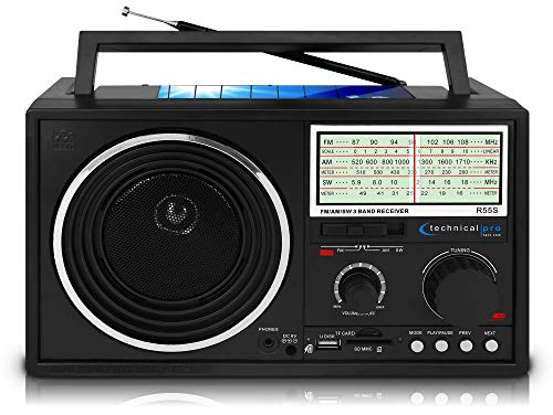 Technical Pro Handheld Shortwave AM/FM Radio Speaker With Bluetooth/USB/SD Input Rechargeable and Solar Powered The Ultimate Radio For Anyone On The Go