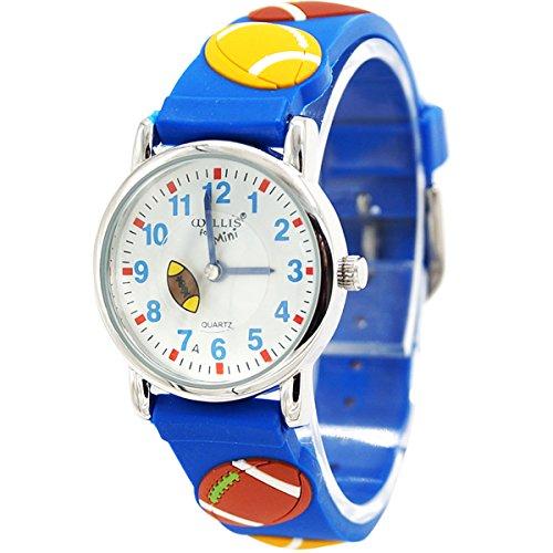 Willis Unisex Kinderuhr Mehrfarbig Student 3D Cartoon Uhr Größes Zifferblatt Armbanduhr Gummi Band Sportuhren für Jungen Mädchen Kinder-Blau Rugby