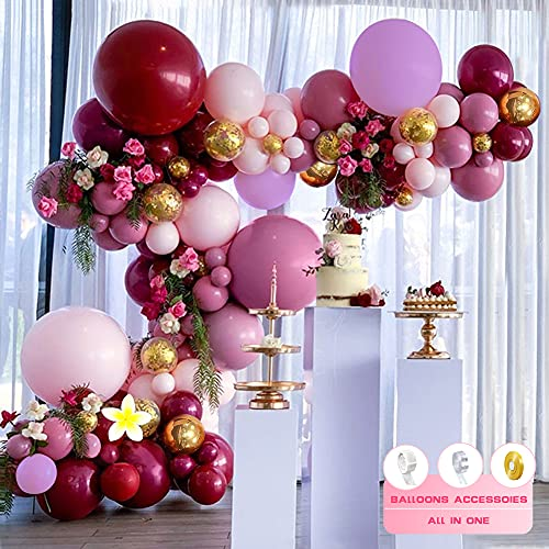 Kit de Guirnaldas de Globos, SPECOOL Guirnalda de Arco de Látex Globos Confeti de Oro Rosa Rojo Vino con Flores Artificiales,Globos para Cumpleaños Baby Shower Boda Fiesta Damas Niña