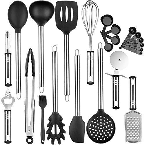 OMEW 23 Pièces Set d'Ustensiles de Cuisine Antiadhésif, Kit Ustensiles de Cuisine avec poignée en Acier Inoxydable