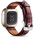 Maledan Compatible with Fitbit Versa 3 and Fitbit Sense Watch for Women Men, Top Grain Leather Band Slim & Thin Replacement Wristband Strap Accessories for Sense & Versa 3, Wine Red