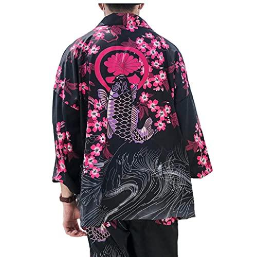 Kimonos Man Kvinna 2021 Japanska Kimono Cardigan Cosplay skjorta blus för kvinnor japanska Yukata Kvinna Summer Beach Kimono, Män Skjortor(L)