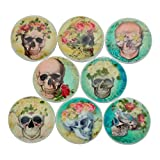 Set of 8 Skull and Roses Wood Cabinet Knobs