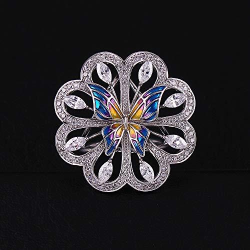 N-brand PULABO - Anillo triple, con diseño de mariposa y flor de cristal blanco, con botón de seda, chapado en oro, de alta calidad, botón práctico