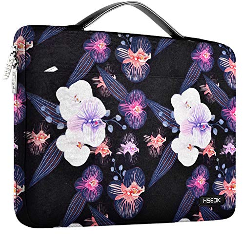 HSEOK Laptop Sleeve 13-13.5 Inch Case Briefcase, Compatible All Model of 13.3 Inch MacBook Air Pro, XPS 13, Surface Book 13.5' Spill-Resistant Handbag and Popular 13'-13.5' Notebook, Jellyfish flower