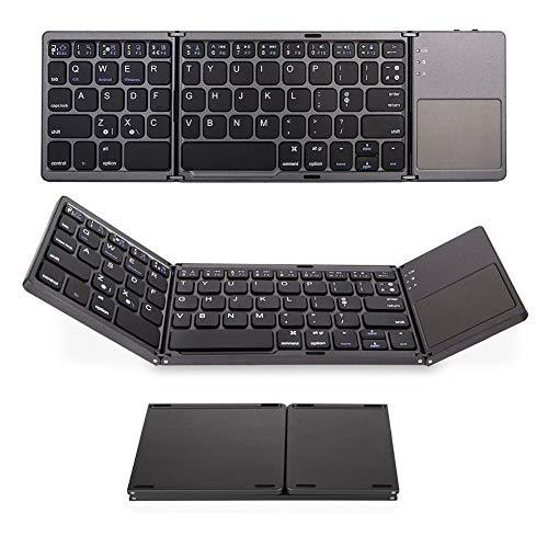 KK Zachary Tastatur TRI-Fall-Falttastatur, Ultradünne Bluetooth-Tastatur, DREI-System-Universal-Touch-Wireless-Bluetooth-Tastatur, Geeignet Für Mobiltelefone, Tablets Und Laptops (Color : Black)