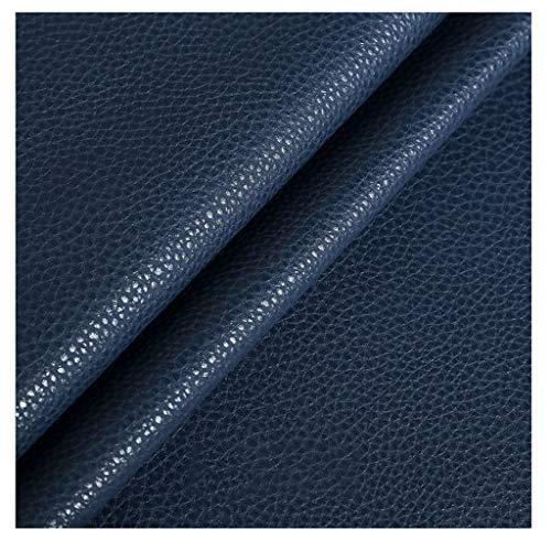 LYRWISHMJ 140cm Cuero de Imitación100cm de Ancho Cuero Blanco Sintético Impermeable para Sofás Asientos de Coche y Bolsos (Color:White,Size:1.38x1m/4.53x3.28ft) (Color : Navy Blue, Size : 1.38X1m)