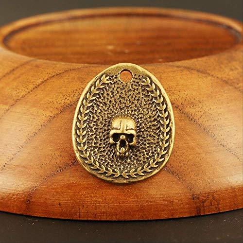 LBSST Handgemachte Messing Schädelkopf kleine Tag Schlüsselanhänger Anhänger für Halsketten Männer Auto Schlüsselanhänger Frauen Tasche Behänge DIY Zubehör