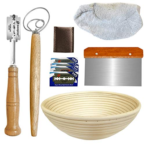 10 Inch Round Banneton Proofing Basket Set – Bread Baking Kit with Dough Scraper, Bread Lame, Danish Dough Whisk - Sourdough Proofing Basket for Artisanal Bread – Bread Making Tools and Supplies Set