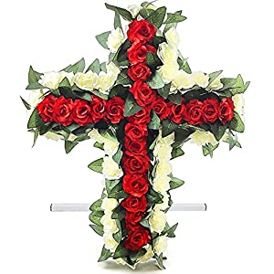 rose cross cemetery flowers for headstone and grave decoration-red rose grave site decor~sympathy flowers~flowers for graves (red-white) silk flower arrangements