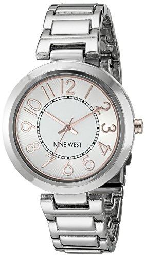 Nine West Reloj de Mujer de Cuarzo con Esfera Plateada Pantalla Analógica y aleación de Plata Pulsera NW/1893svrt