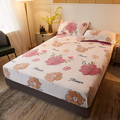 Velvet Bed Sheet plush Fitted sheet Abrasion Resistant bed Sheets Bed Linen Polyester Mattress Cover Queen King Size printing,Pink,180x200x25cm